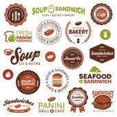 三明治小酒馆标签 — 图库矢量图片