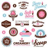 アイス クリーム ショップ ラベル — ストックベクタ