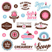 Ice cream shop labels — Stock Vector