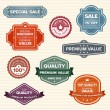 Vintage retro labels in various colors — Stock Vector