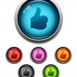 Thumbs-up button icon — Stockvectorbeeld