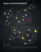 Cerchi sociali infografica — Vettoriale Stock