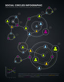 Social circles infographic — Vector de stock