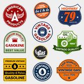 Vintage retro gas signs — Stock Vector
