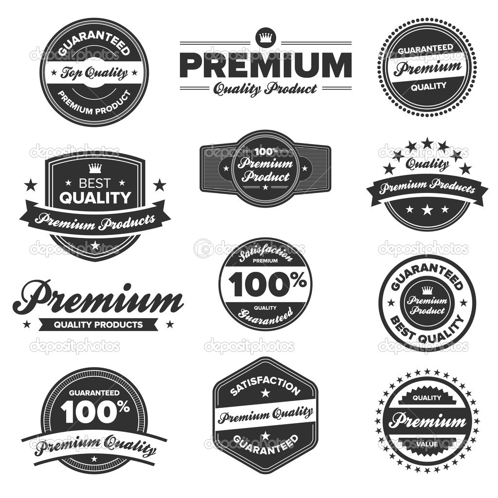 Set of 12 retro premium quality badges and labels — Stock Vector #7979155