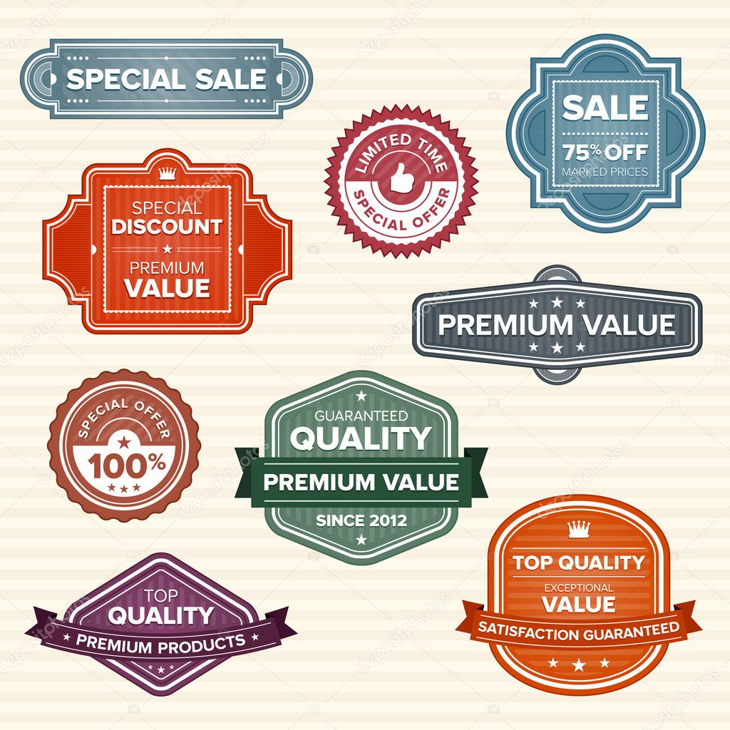 Set of 9 vintage retro labels in various colors — Stock Vector #7979156