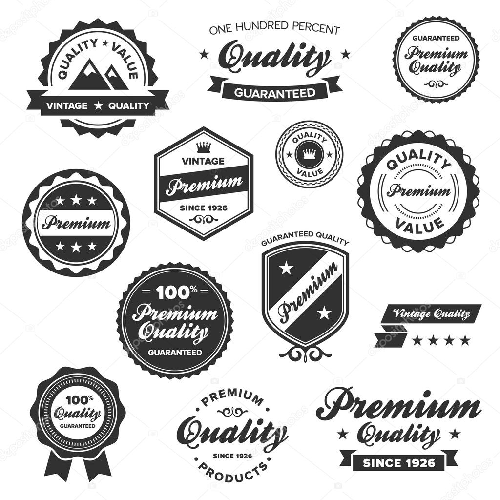 Set of vintage retro premium quality badges and labels  Stock Vector #7979157