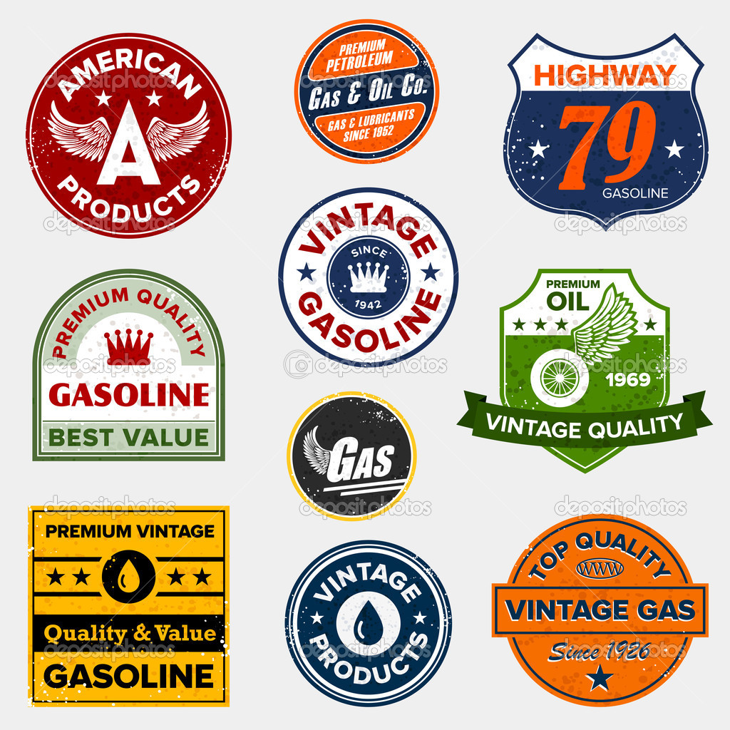 Set of vintage retro gasoline signs and labels  Stock Vector #7979158