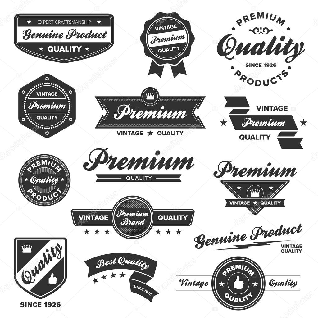 Set of vintage retro premium quality badges and labels — Stockvectorbeeld #7979162