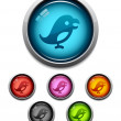 Bird button icon — Stockvektor