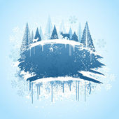 Winter forrest grunge design — Stockvector