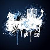 Dark blue grunge city frame — Stock Vector
