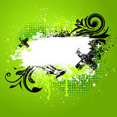 Green floral paint splatter — Stock Vector