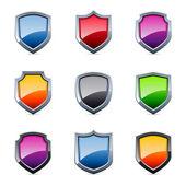Glossy shield icons — Stock Vector