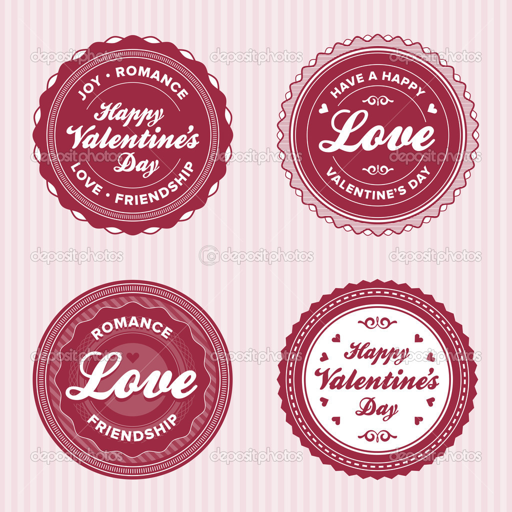 Set of vintage valentine's day love badges and labels — Stock Vector #8177157