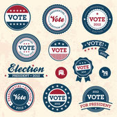 винтаж выборы значки — Cтоковый вектор
