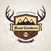 Outdoors emblem — Vector de stock