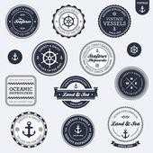 Etiquetas náuticas vintage — Vector de stock