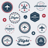 étiquettes vintage aéronautique — Vecteur