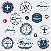 Vintage aeronautics labels — Stock Vector