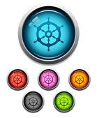 Ship wheel button icon — Stock Vector