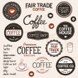Stock Vector: Vintage coffee labels and lettering