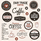 Vintage coffee labels and lettering — Stock Vector