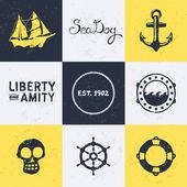 Vintage deniz sembolleri — Stok Vektör