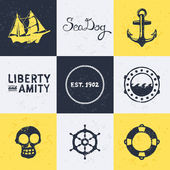 Vintage nautical symbols — Vector de stock
