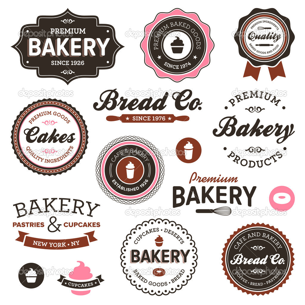 Set of vintage retro bakery badges and labels — Stock Vector #8904525