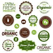 Organické potraviny popisky — Stock vektor