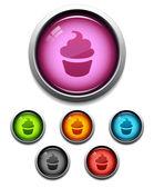 Cupcake button icon — Stock Vector