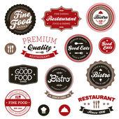 étiquettes restaurant vintage — Vecteur