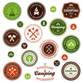 Camping etiketten — Stockvector