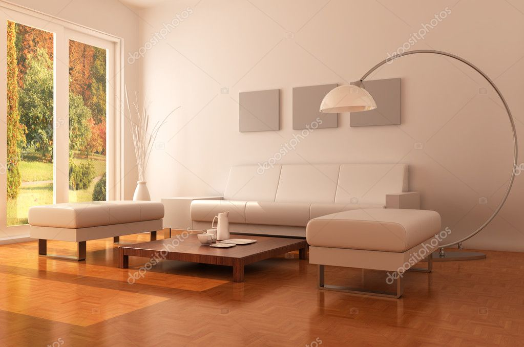 3d render interior of a modern living room  Stock Photo #7982908