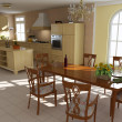 3d render classic dining room and kitchen — Stock Photo
