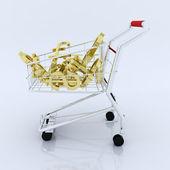 Carrinho de compras 3d com o símbolo de moeda — Fotografia Stock