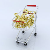 3d shopping cart with currency symbol — Стоковое фото