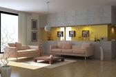 3d render modern living room — Stock Photo