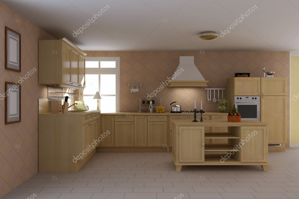 3d render interior of classic kitchen — Stock Photo #8008046