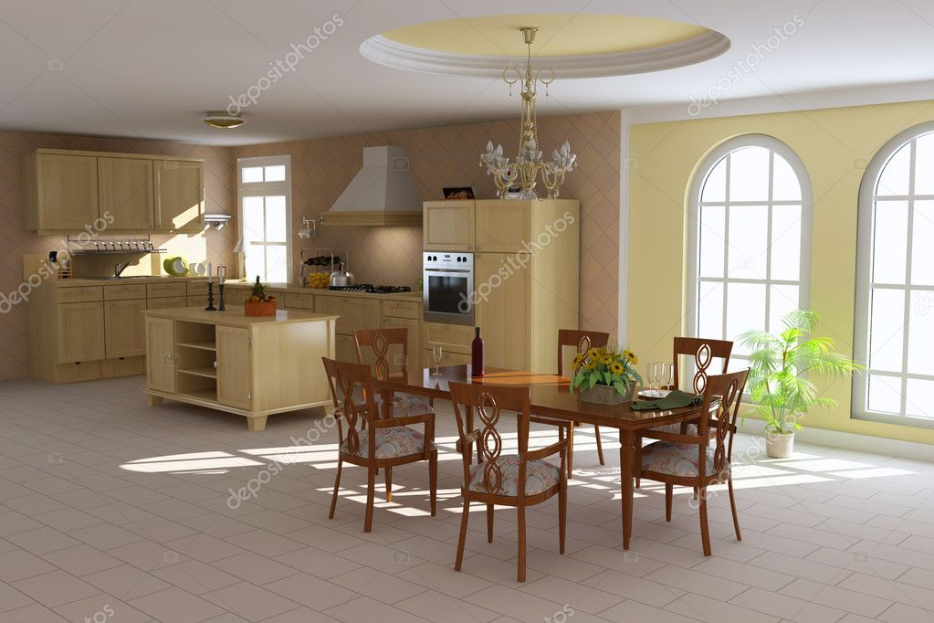 3d render interior of a classic dining room and kitchen — Stock Photo #8008243