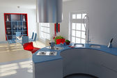 Modern kitchen and dining room — Stock Photo