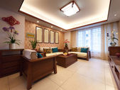 Home interior decoration with chinese style — Stock Photo