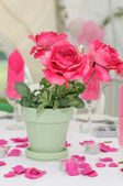 Pink roses decorate table. — Stock Photo