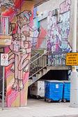 Rubbish Bins in a Colourful Setting in Bristol UK — Stock Photo