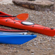 Stock Photo: Two Kayaks on Beach