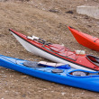 Stock Photo: Kayaks on Beach