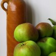 Cooking Apples and Vintage Bottle — Stock Photo