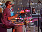 Drummer in the Spotlight — Stock Photo