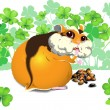 Greedy funny hamster — Stock Vector
